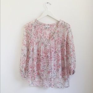 Joie silk sheer floral button blouse